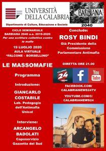 Unical, webinar con Rosy Bindi sulle massomafie