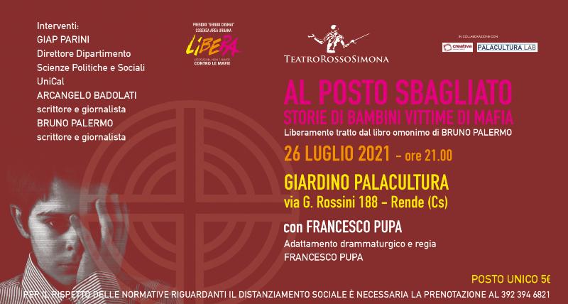 Teatro Rossosimona e Libera Cosenza per una serata di teatro e riflessione civile