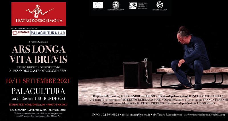 "Al Palacultura di Rende debutta ""Ars Longa Vita Brevis"""