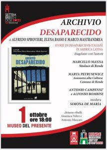 Archivio Desaparecido_ a Rende si presenta il progetto in anteprima per il sud d'Italia 2