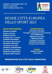 _candidatura di Rende quale Città Europea dello Sport 2023 2