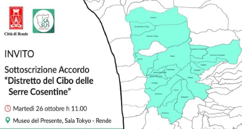 Distretto del Cibo, il 26 ottobre a Rende la firma dell'accordo